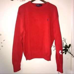 Polo By Ralph Lauren Coral Red Crewneck Sweater